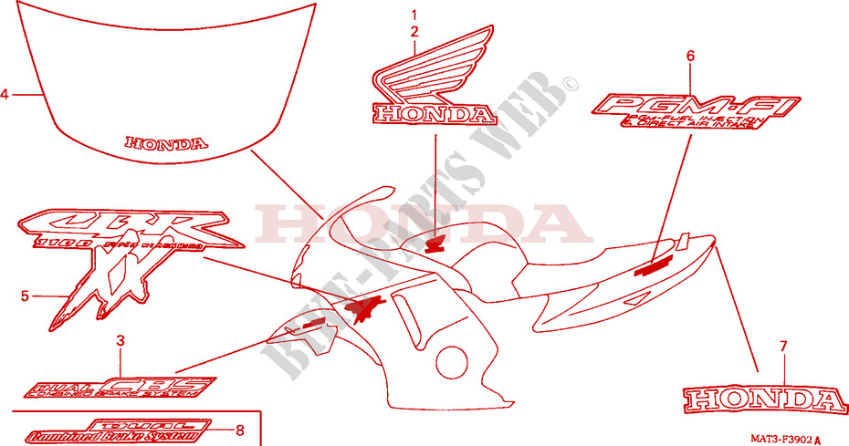 STRIPE/MARK (X/Y/1/2/3/4) dla Honda CBR 1100 SUPER BLACKBIRD 2002